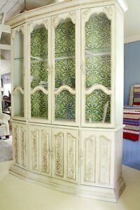 LARGE DISPLAY CABINET, CHINA CABINET, REFINISHED, FRENCH COUNTRY