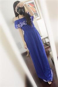 Blue long dress/ Chic robe de soirée, pour bal ou mariage,S/M