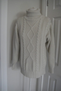 Winter Turtle Neck Ribbed Cable Knit Sweater Jumper Pullover M/