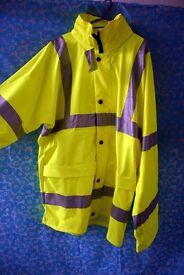 B-Seen PULJ471 Lined Breathable Storm Proof Insulated Hi-Viz Saturn Yellow Security Safety Jacket,