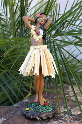 Hawaiian Hawaii Souvenir Dashboard Hula Doll Dancer Girl Posing Natural # 40628