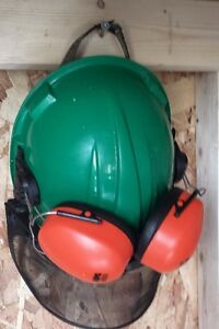 Hard Hat with earmuffs and face shield