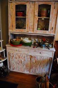 PINE SIDEBOARD AND HUTCH