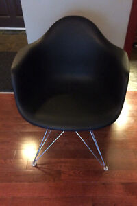 Contemporary chic black occasional chair With metal base i