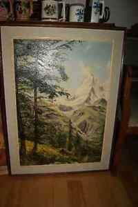 Large vintage 28x20 oil on canvas painting mountain landscape