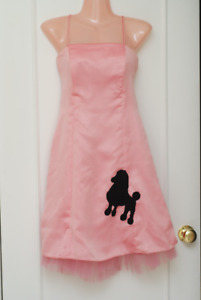 Pink POODLE DRESS - knee length, tulle underneath