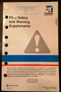 Cessna Aircraft Manual - Pilot Safety & Warning Supplements