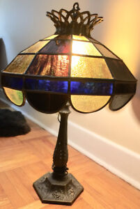 Brass stained leaded glass tiffany lamp by Moe Industries, USA