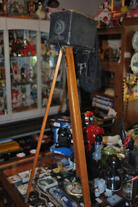 ANTIQUE CAMERA ON REAL WOOD ORIGINAL TRIPOD...DISPLAYS GREAT!