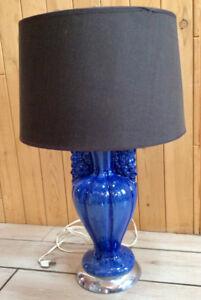 Lampe vintage en céramique bleu royal