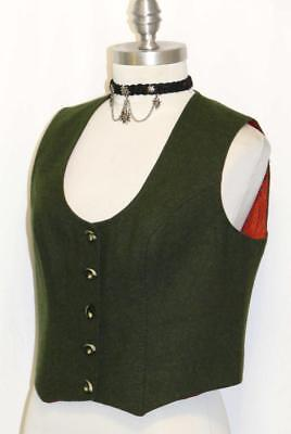 WOOL Jacket Over Coat VEST Women AUSTRIA Riding Fitted UNIQUE BUTTONS Green 8 S