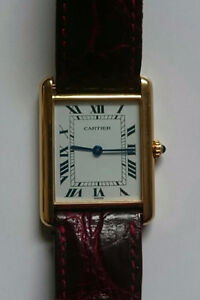 CARTIER Tank Solid 18k Gold Roman Numeral  Unisex Watch