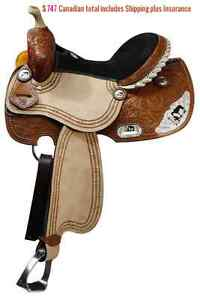 "14"" 15"" 16"" Western Barrel Racing Saddles $747 Leather FULL Bars London Ontario image 9"