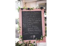 Large blackboard used as order of the day used at our wedding