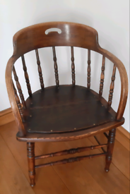 Beautiful stylish dark wood Antique office chair with wooden seat
