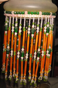 Antique Czech Glass Beaded Fringe on Satin Glass Shades