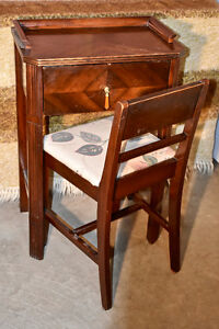 Vintage antique telephone table with matching chair