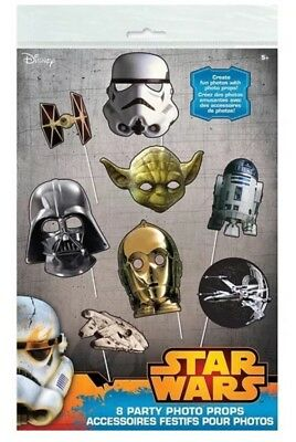 Disney Star Wars 8 Paper Photo Props Great for birthday parties photo booths NIP