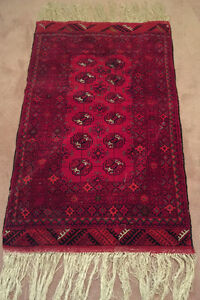 "Authentic Tapis Persan 30 x 50 ""  tissué à la main rouge"