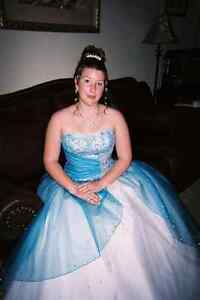 Blue prom dress with sequins