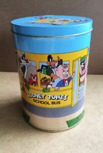 Vintage Brach's Candy Corn Looney Tunes Tin Canister School Bus