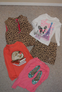 Girls Carters Animal Print Vest, Skirt and 3 Shirts
