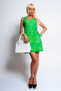 Perforated green on yellow party dress