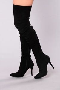 NEW BLACK KNEE HIGH SOFT SUEDE BOOTS.  FITS 5-5.5 SHOE SIZE