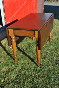 Price Drop - Antique Drop-Leaf Dining Table With Turned Legs