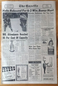 1967 Montreal Gazette Sports section  Habs vs Leafs