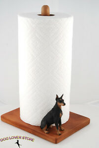 Doberman-Pinscher-Dog-Figurine-Paper-Towel-Holder-Black
