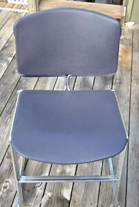 Mid-Century Chrome Purple Plastic Stacking Chairs~Steelcase x4 Belleville Belleville Area image 8