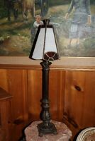 Antique style torch shaped lamp with stained glass shade