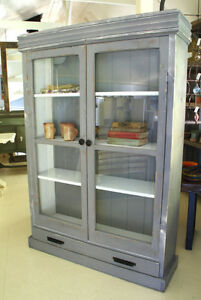 PRIMITIVE, RUSTIC DISPLAY CABINET, HAND CRAFTED. HOME OR COTTAGE