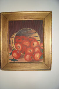 VINTAGE 10X12 OIL PAINTING - APPLES