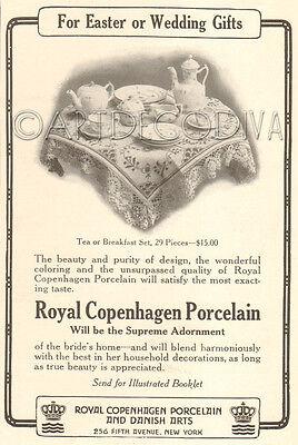 Antique 1916 ROYAL COPENHAGEN Porcelain TEA Pot Breakfast Set Dishes Dish AD