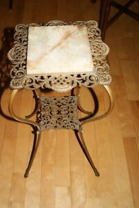 Antique Victorian PLANT STAND Brass & Marble - gorgeous !