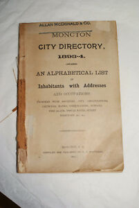 Rare Antique1893 and 1894 Moncton City Directory