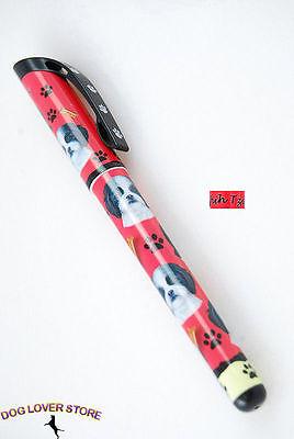 Shih Tzu Dog Pen Replaceable Ballpoint Black Ink Black White Puppy C