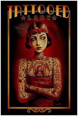 Tattooed Lady by Marcus Jones Screaming Demons Tattoo Art Print Vintage Poster ()