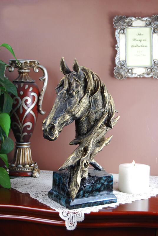 "16"" High New Large Resin Horse Head Bust Statue Figure Sculpture"