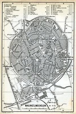 MALINES, MECHELEN 1885: Baedeker Town Plan - Belgium old map