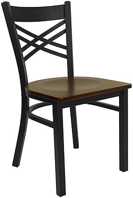 Restaurant Metal Chair Cross Back Mahogany Wood Seat Lifetime Frame Warranty