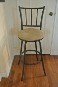 Metal stool with suede seat