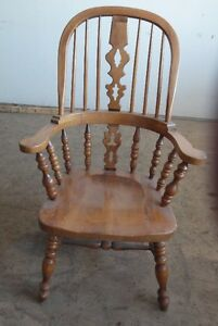 "Set De 4 Chaises en Bois ""Windsor-Georgian"" Wood Arm Chairs"