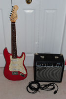 Fender Squier Mini Electric Guitar with Fender Amplifier + Cable