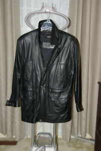 Black Leather Long Dress  Coat Like New.