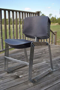 Mid-Century Chrome Purple Plastic Stacking Chairs~Steelcase x4 Belleville Belleville Area image 3