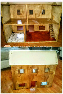 Vintage solid wooden dollhouse