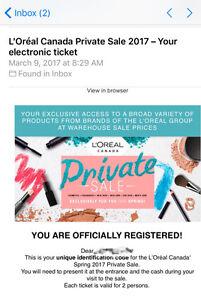 L'Oreal Warehouse Private Sale 2017 Tickets